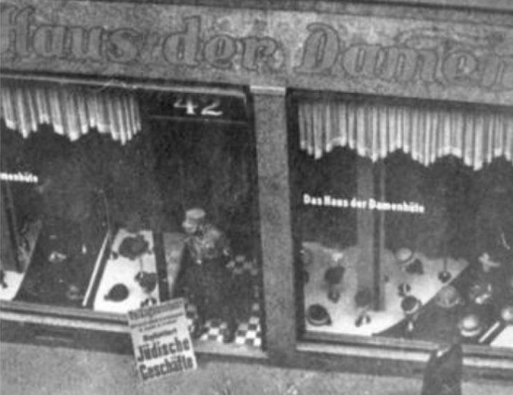 Boykott eines Geschäftes für Damenhüte in Duisburg - 1. April 1932
