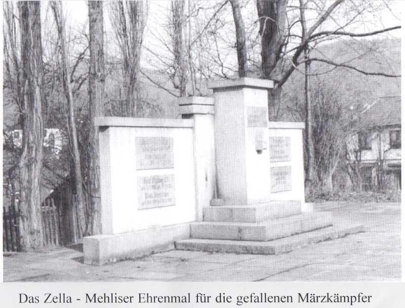 Das Ehrenmal in Zella-Mehlis für die gefallenen Märzkämpfer 1920.